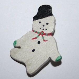 Vintage wooden snowman brooch